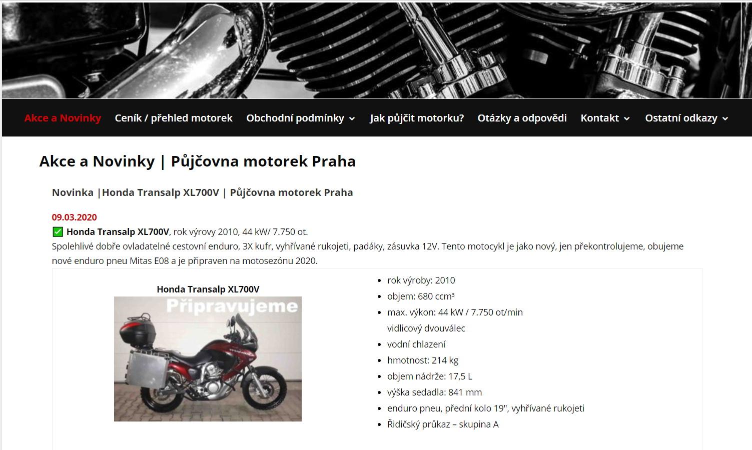 Moto půjčovna Praha