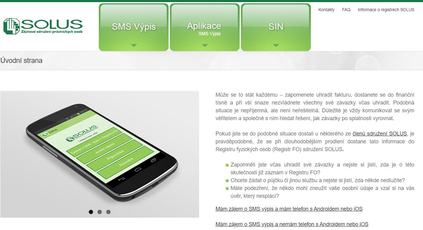 SMS výpis SOLUS